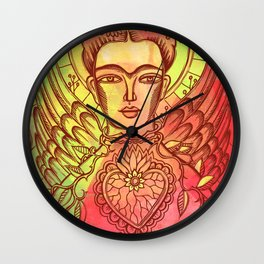 Frida Kahlo - monoprint-Red Wall Clock