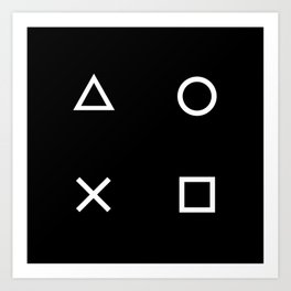 Gamer Pattern (White on Black) Art Print
