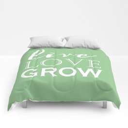 Live Love Grow - Mint Green and White Comforters