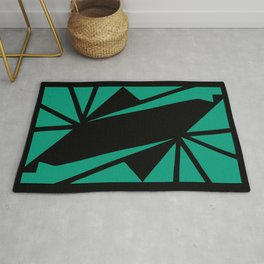 Abstract art deco green and black Rug