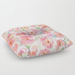 Watercolor Peonies Summer Bouquet Floor Pillow