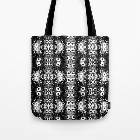 Black White Fower Girly Pattern Tote Bag