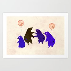 A Sleepy bear birthday Art Print