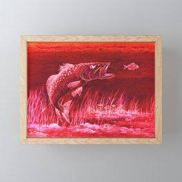 Trout Attack In Red Framed Mini Art Print