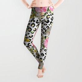 Elegant leopard print and floral design Leggings