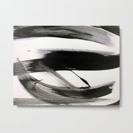 Brushstroke 9: a bold, minimal, black and white abstract piece Metal Print