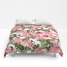 Vintage forest green pink coral bohemian floral Comforters