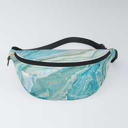 Turquoise Liquid Marble Fanny Pack