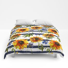 Stripes and Sunflowers Comforters