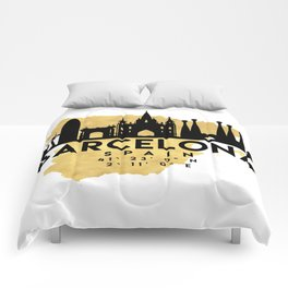 BARCELONA SPAIN SILHOUETTE SKYLINE MAP ART Comforters