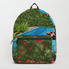 Young Girl Relaxing Underneath The Blue Sky Backpack