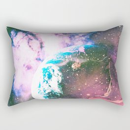 Space Earth Watercolor Rectangular Pillow