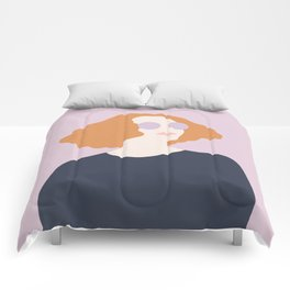Orange Hair Girl // Minimalist Indie Rock Music Festival Lavender Sunglasses by Mighty Face Designs Comforters