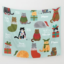 Naughty Christmas Cats with Words Wall Tapestry