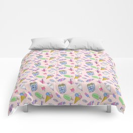 Cute pink candy and ice-cream Comforters