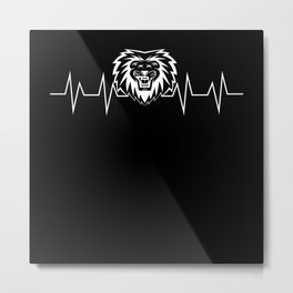 Lion EKG Heartbeat Pulse Gift Metal Print