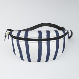 Simply Drawn Vertical Stripes Nautical Navy Blue on White Fanny Pack