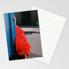 Red Dress and Shoes Peek | Fashion Editorial Stationery Cards