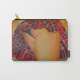 Young Girl Flirting Tease Me in Tartan With Border Carry-All Pouch