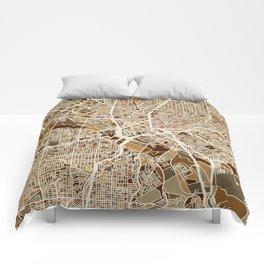 Dallas Texas City Map Comforters