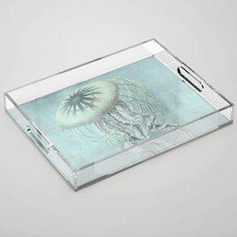 Jellyfish Underwater Aqua Turquoise Art Acrylic Tray