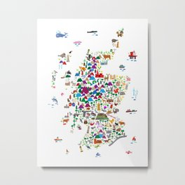 Animal Map of Scotland for children and kids Metal Print
