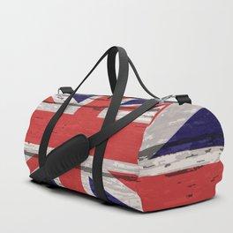 Union Jack UK Flag On Old Timber Duffle Bag