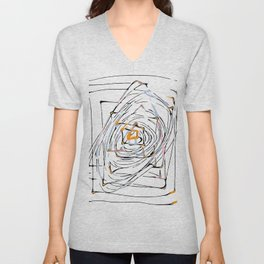 drawing square triangle and circle pattern abstract in orange blue and pink Unisex V-Neck