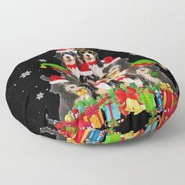 bernadoodle christmas tree Floor Pillow