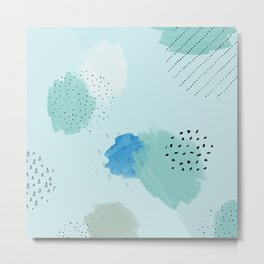 Abtract paint in light blue Metal Print