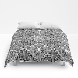 black and white Damascus ornament Comforters