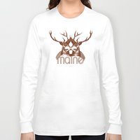 maine Long Sleeve T-shirts featuring Backwoods Maine by One Giant Eye