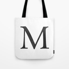 Letter M Initial Monogram Black and White Tote Bag