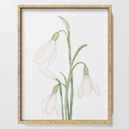 angelic snowdrop flowers watercolor Serving Tray