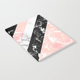 Modern black white pastel pink marble color block stripes Notebook
