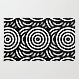 Retro Black White Circles Op Art Rug