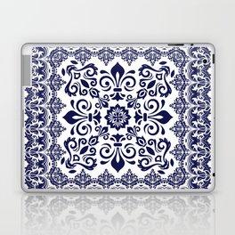 Oriental Damask blue on white Laptop & iPad Skin