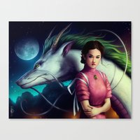 """spirited away Canvas Prints featuring """"Spirited Away"""" by PeeGeeArts"""