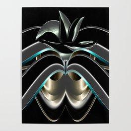 Abstrakt - Lilie schwarz grau Poster