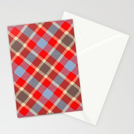 Red tartan, plaid with black blue stripes Stationery Cards
