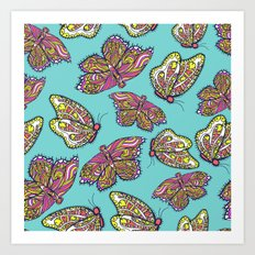 heart and butterflies Art Print
