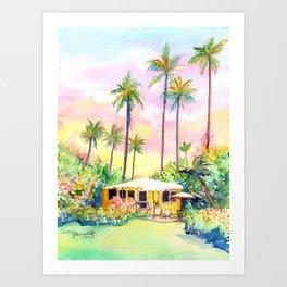 Yellow Kauai Cottage Art Print