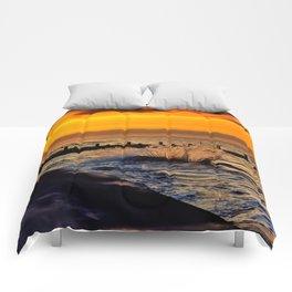 Ocean sunset at walcott Comforters