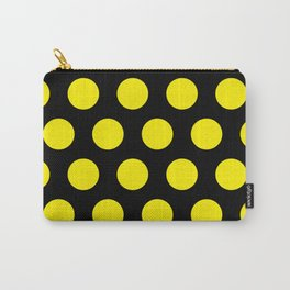 Yellow Circles on Black Background Carry-All Pouch