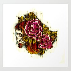 Tattoo Flash grunge....skull rose Art Print