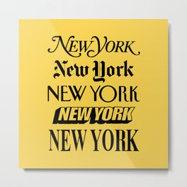 New York City Yellow Taxi and Black Typography Poster NYC Metal Print