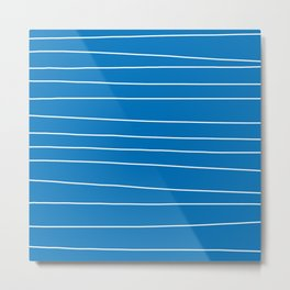Blue and White Stripes Metal Print