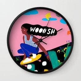 SKATER GIRL WOOOSH Wall Clock