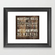 Man Cave Rules Beer Framed Art Print