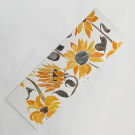 Sunflower Watercolor – Yellow & Black Palette Yoga Mat
